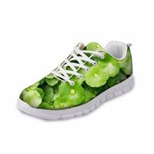 Купить с кэшбэком NOISYDESIGNS 3D Printing Casual flat Shoes Women Fashion Green Leaves Design Leisure Shoes Flat for Ladies Women's Mesh Shoes