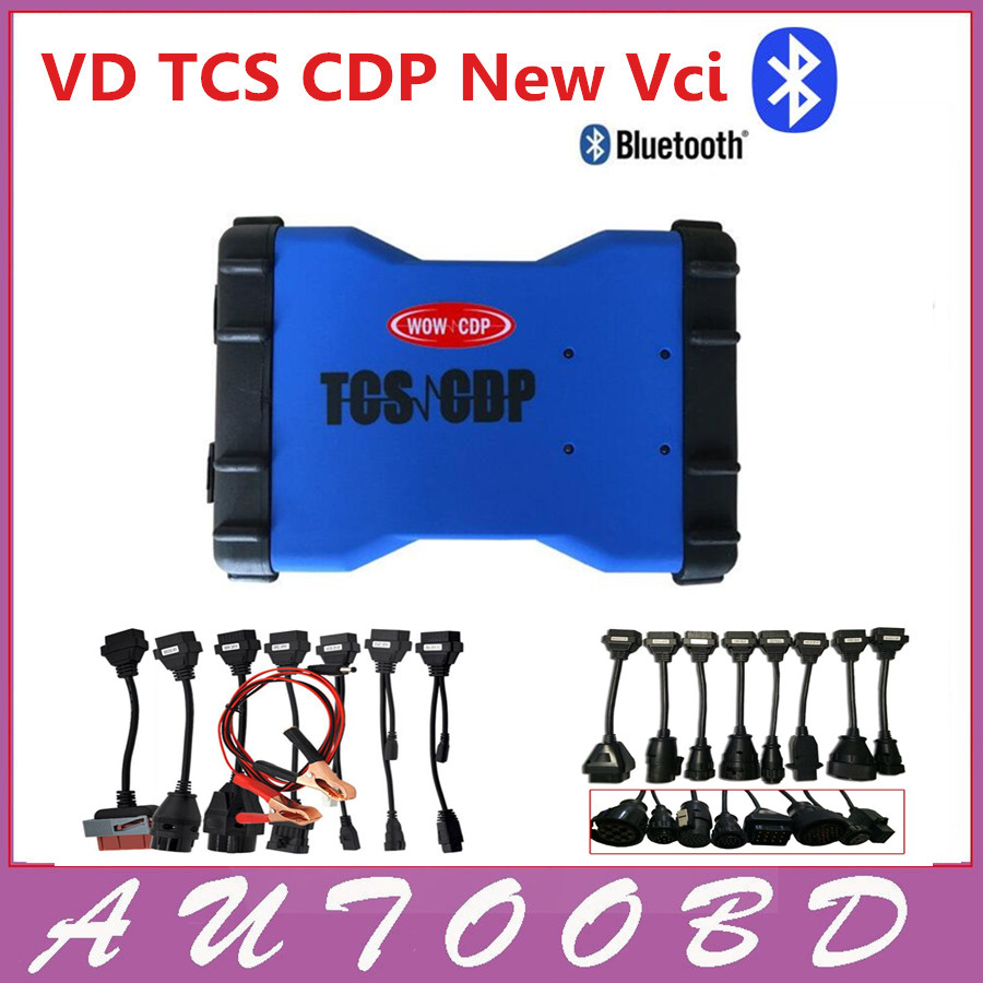 New 2014 R2 DVD/CD Blue VD TCS CDP Pro Bluetooth +8 CAR Cables+8 Truck Cables for Auto OBD OBDII Scanner cdp Diagnostic tools  with bluetooth function super tcs cdp pro plus keygen led 3 in1 sn 100251 obdii obd obd2 scanner diagnostic interface cdp pro