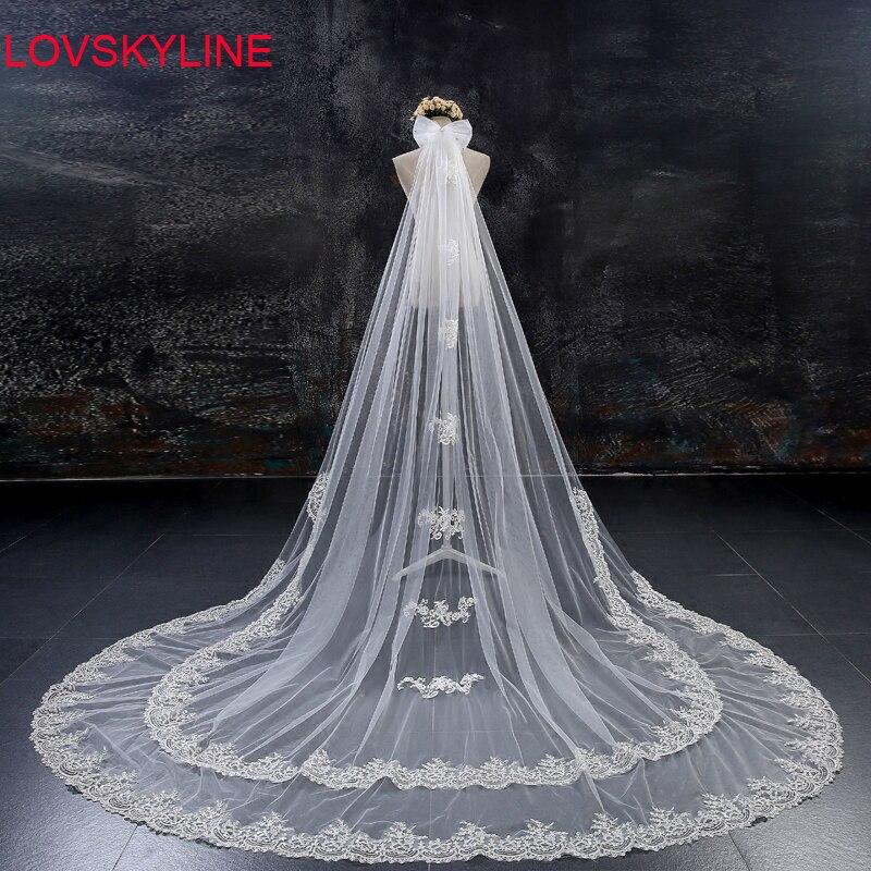 300CM X 300CM Velos De Novia 3 Meters 2T Ivory Sequins Blings Sparkling Lace Edge Purfle Long Cathedral Wedding Veils