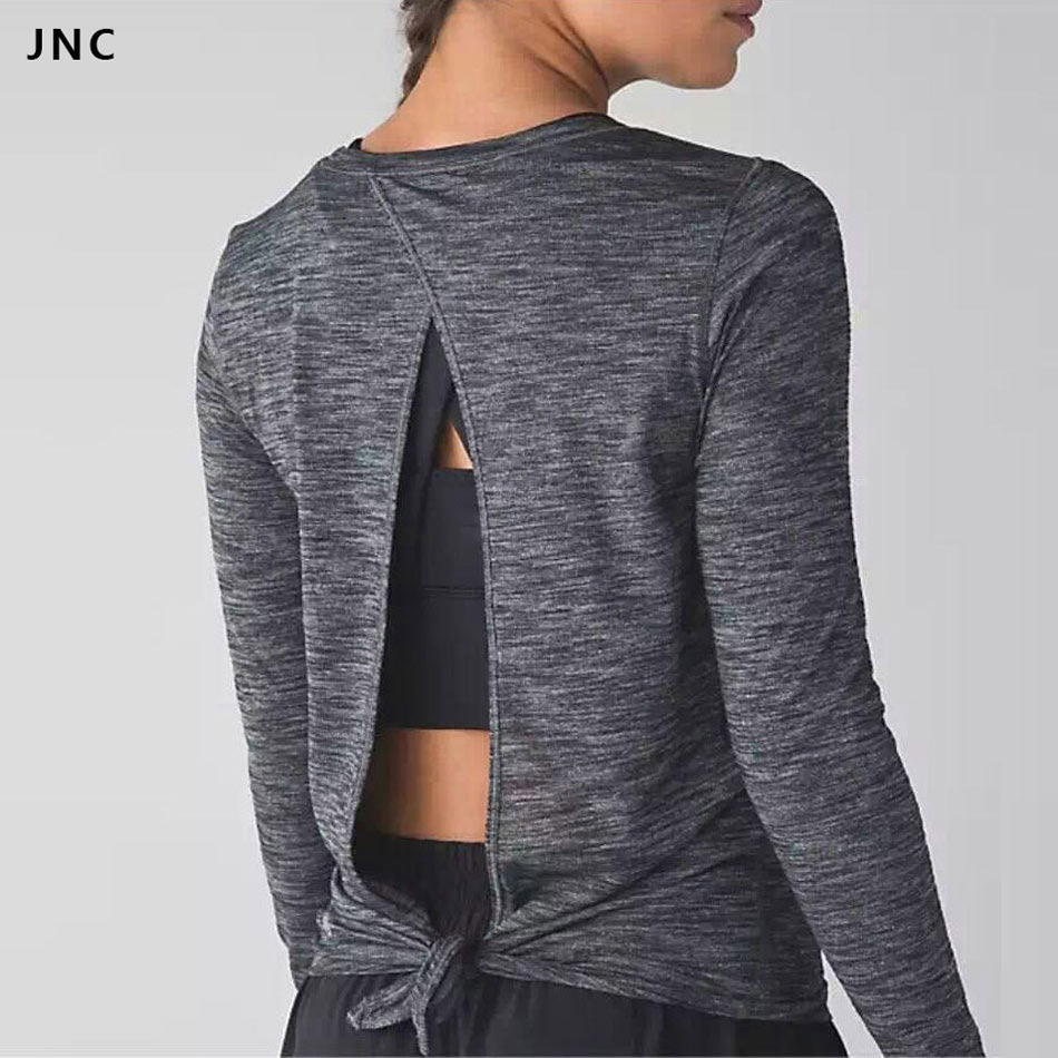 2016 jnc sports shirts open back top yoga shirt long for Long sleeve open shirt