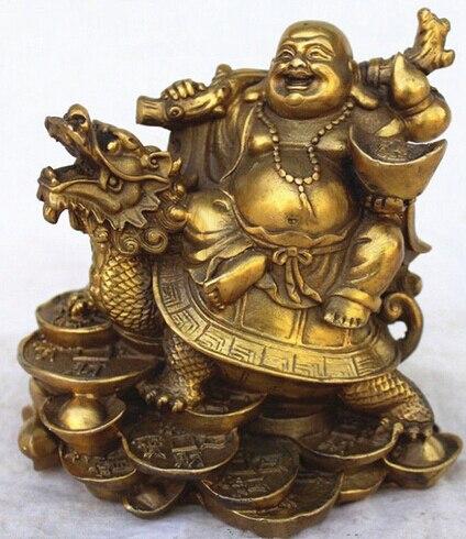 Bronze Chinesischer Drache Schildkröte Glücklich Bronze Skulptur Statue Figur Figur T Antike Originale Vor 1945
