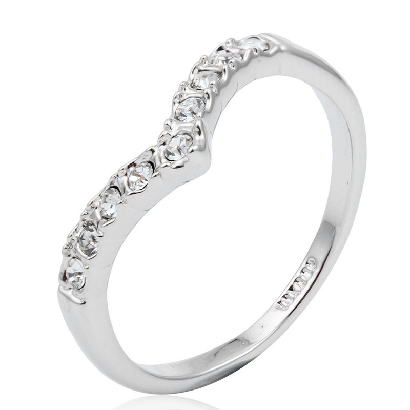 White Gold Color Cluster Crystals Arrow Engagement Wedding Band Rings For Women Girls Anillos