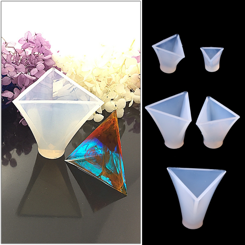 Triangular Pyramid Jewelry Making Tools Mold Pendant Silicone Resin Craft DIY