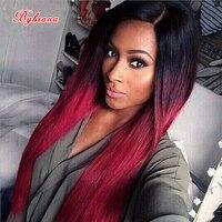 Bybrana Синтетические волосы длинные прямые волосы Ombre черный, красный парик высокого Температура Волокна Косплэй парик для черный Для женщин