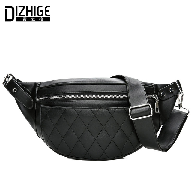 DIZHIGE Brand Fashion Women Waist Packs Black PU Leather Fanny Pack Belt Bag Multifunctional Shopping Travel Waist Bag For Phone