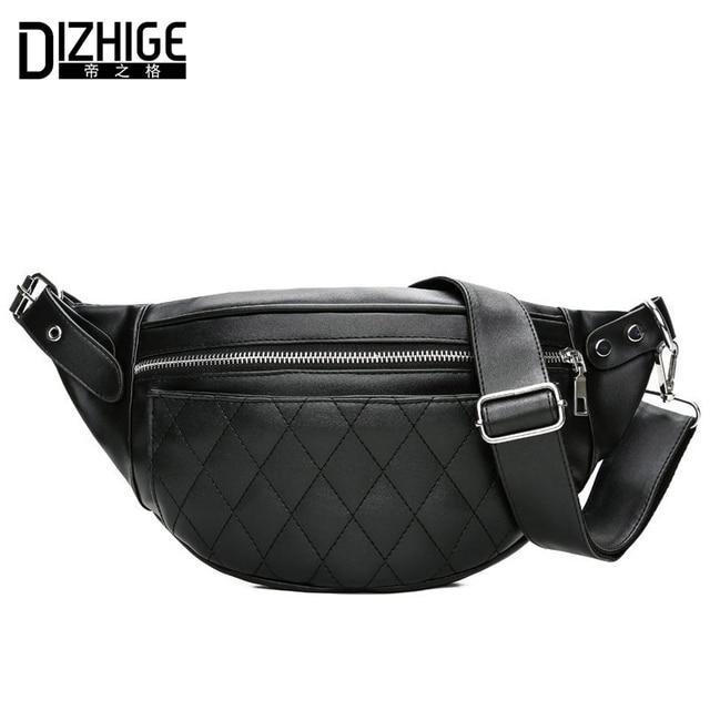 9031c8ccbc DIZHIGE Marque Mode Femmes Taille Packs Noir PU En Cuir Fanny Pack Ceinture  Sac Multifonctionnel Shopping