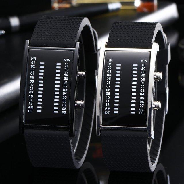 Luxury Lovers' Wristwatch Waterproof Men Women Rubber Strap Red Binary Luminous