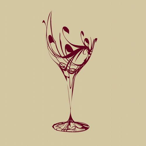 Unique JJRUI Elegant Wine Glass Wall Sticker Art Design Kitchen Decal  XY41