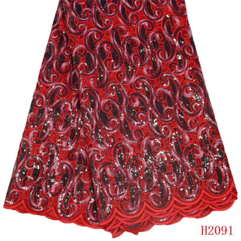 Organza Lace Fabric Latest African Laces 2019 Red Party Dress Nigeria French Party Sequin Dress Lace