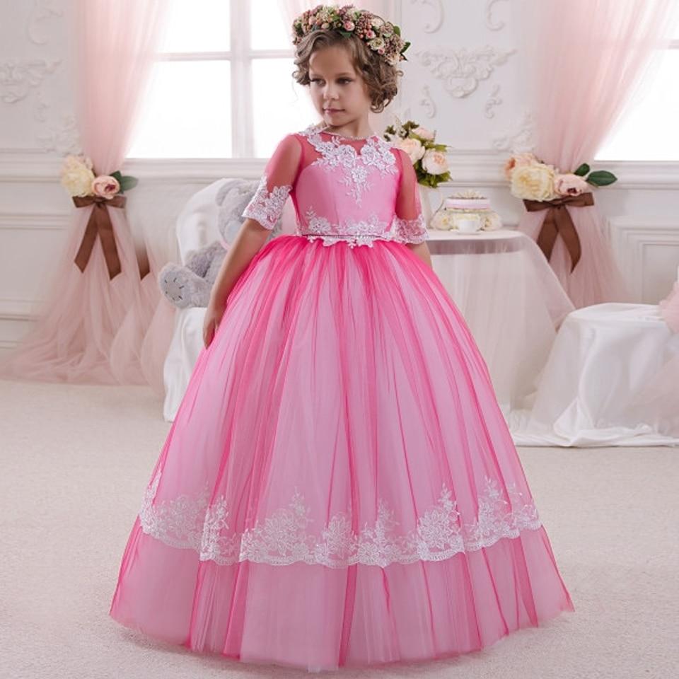 Elegant Rose Red Girls Pageant Dresses Half Sleeves Patchwork O-Neck Ball Gown Girls Communion Dresses Hot Vestido De Comunion 63 rose de mai