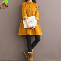 Autumn Spring Corduroy Doll Collar Dress Clothing For Women 100 Cotton Dress Vintage Mori Harajuku L