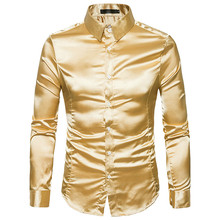 Camisa de seda masculina 2018, cetim, lisa, masculina, social, chemise, casual, slim, brilhante, dourada, vestido de casamento camisas