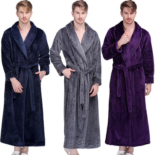 519c8aec07 Men Winter Extra Long Thick Warm Grid Flannel Bathrobe Mens Luxury Kimono  Bath Robe Women Sexy Robes Male Thermal Dressing Gown