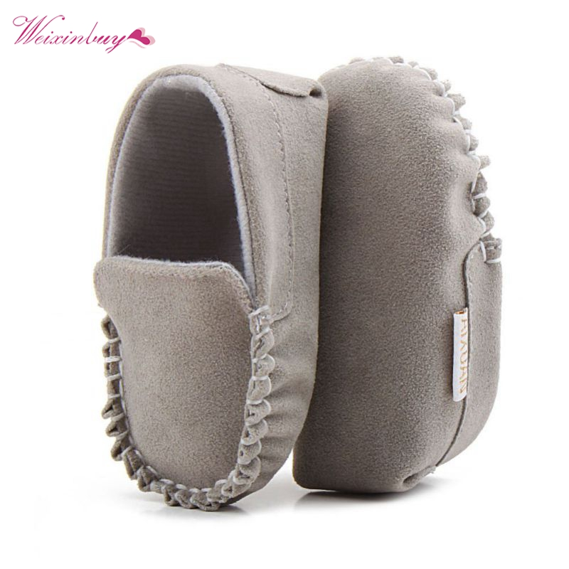 PU Suede Leather Newborn Baby Shoes Moccasins Soft Soled Non Slip Footwear First Walker For 0 18M