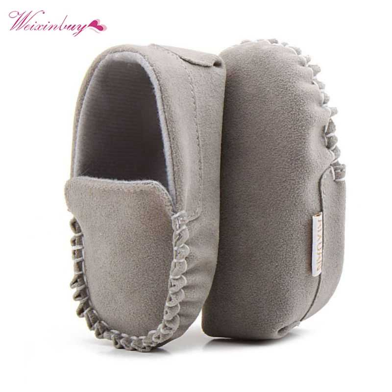 PU Suede Leather Newborn Baby Shoes Moccasins Soft Soled Non-slip Footwear First Walker For 0-18M