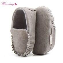 Zapatos de piel sintética para recién nacidos, mocasines, suela blanda, calzado antideslizante, primeros pasos para 0-18M