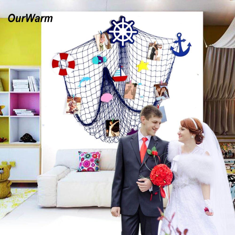 OurWarm Wedding Backdrop Fishing Net Beach themed Rustic Decorative ...