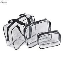 Hot 3pcs Clear Makeup Cosmetic Bags Portable Toiletry Travel Wash Storage Pouch Transparent Waterproof PVC Bag Organizer Cases