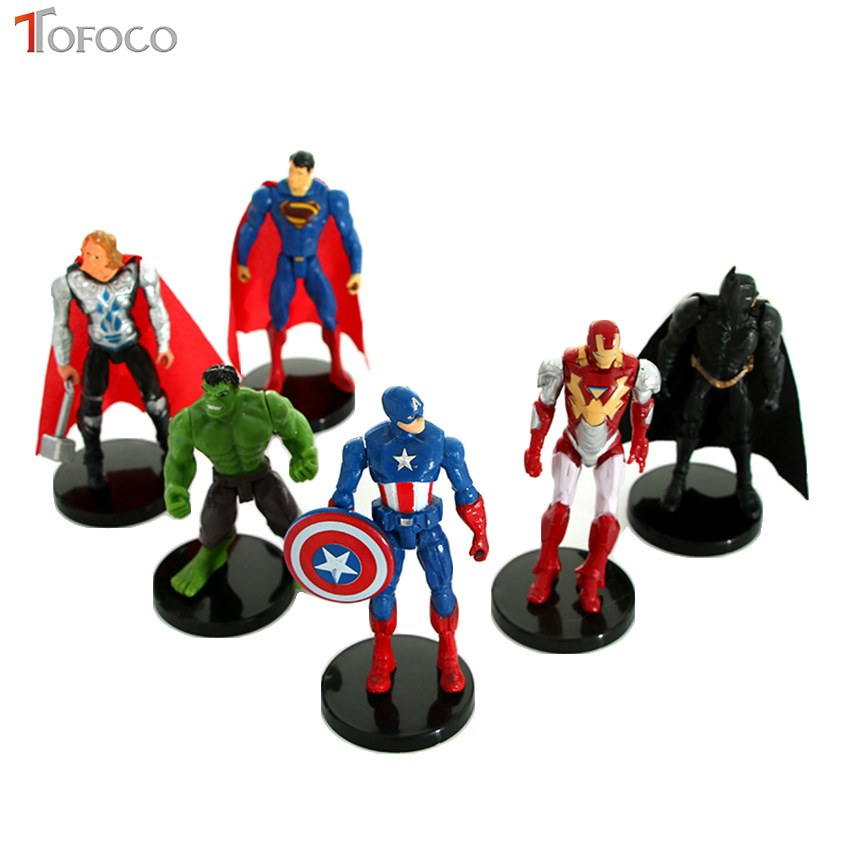 TOFOCO 1PCS Superhero Action Figures Iron Man Hulk Captain America Superman Batman Toys For Children Gift Dolls 12pcs set children kids toys gift mini figures toys little pet animal cat dog lps action figures