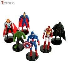 TOFOCO 1PCS Superhero Action Figures Iron Man Hulk Captain America Superman Batman Toys For Children Gift Dolls