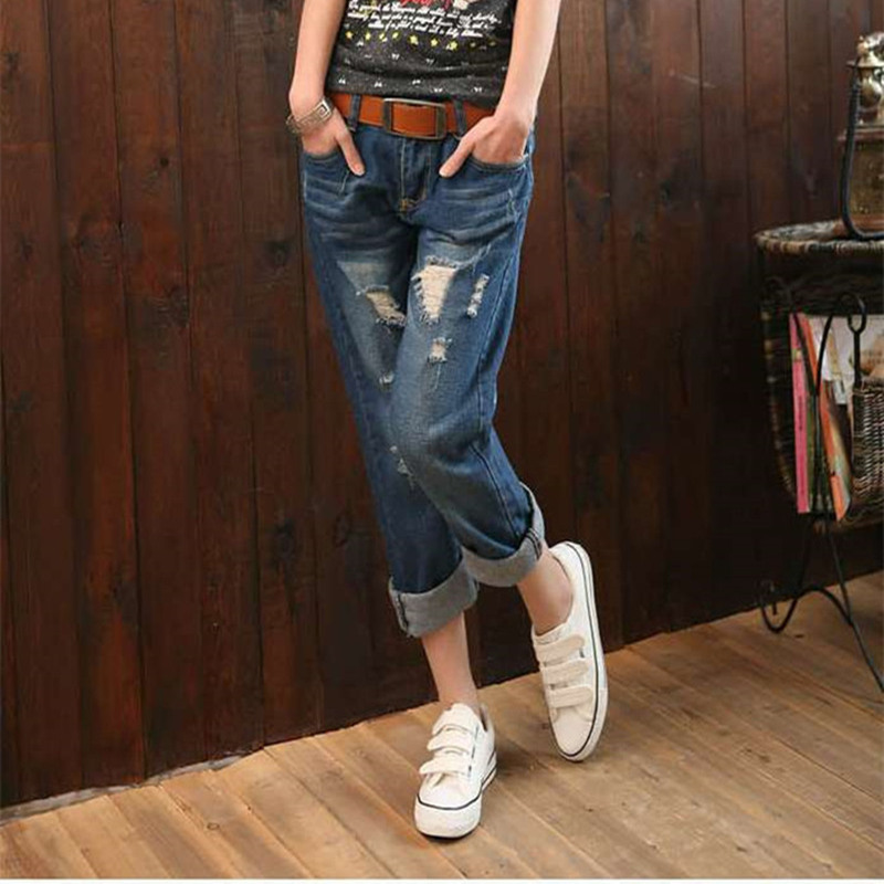 R&H 2018 New Spring Boyfriend   Jeans   For Women Ankle Length Mom Harem Denim Pants Casual Loose Plus Size Ripped   Jeans   For Women