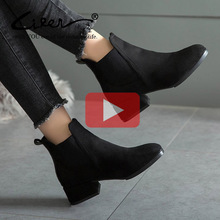 Купить с кэшбэком Liren Autumn Winter Shoes Women Retro Suede High Heel Ankle Boots Slip On Women's Boots Square Heel Boots For Women Black Brown