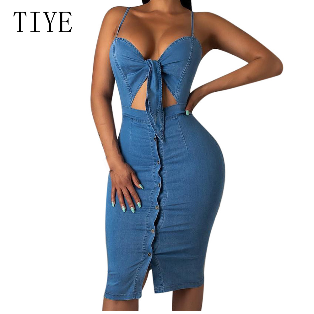 TIYE Women Backless Bodycon Spaghetti Strap Dress Summer Fashion Sexy Hollow Out Sleeveless Casual Slim Retro Denim Dresses in Dresses from Women 39 s Clothing
