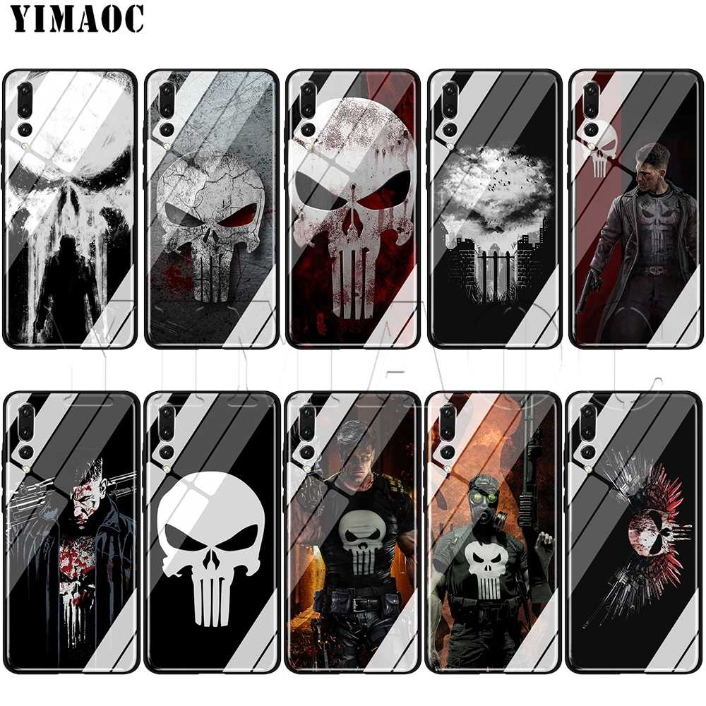 Caixa De Vidro para Huawei Honor Companheiro YIMAOC Marvel The Punisher 7A 8X9 P10 20 30 Y6 Y9 P inteligente lite Pro 2018 2019