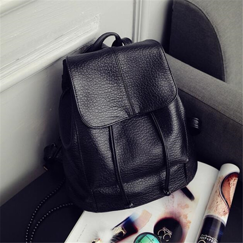 2016 simple design woman black small backpack tourism backpack PU leather women s fashion backpack female