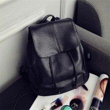 2016 простой дизайн женщины черный маленький рюкзак туризм рюкзак ИСКУССТВЕННАЯ кожа женская мода рюкзак женский hot бесплатная доставка