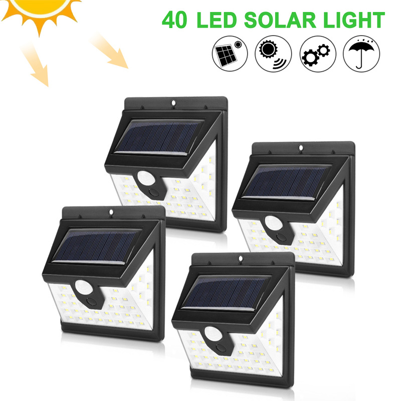 40 LED Solar Powered Lamp Human Body Sensor 4pcs Solar Wall Light Outdoor Waterproof Energy Saving Landscape Garden Yard Lamps