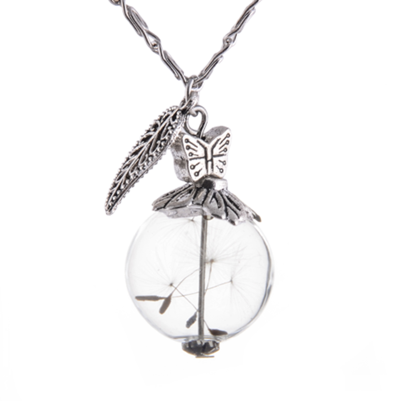 Stunning gorgeous ball shape Vial Necklace with silver leave