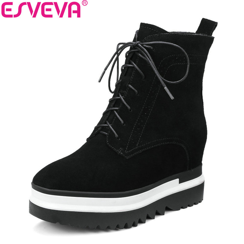 ESVEVA 2018 Height Increasing Women Boots Synthetic/PU Western Style High Heels Autumn and Spring Ladies Ankle Boots Size 34-42 оборудование для мониторинга m square tpu page 2