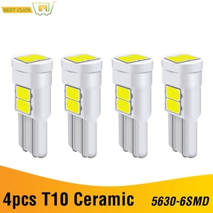 Xukey 4Pcs CERAMIC T10 Car Led Lights 501 168 194 W5W Auto Wedge Trunk License Plate Signal Bulbs HID White 6SMD 12V