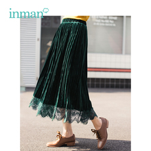 INMAN Winter New Arrival Female High Waist Pleated Lace Retro Literary Women Skirt