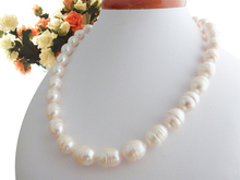 classic 11-12mm Real seawater Pearl natural baroque white pink black pearl necklace 18inch (HAVE flaws)(China)