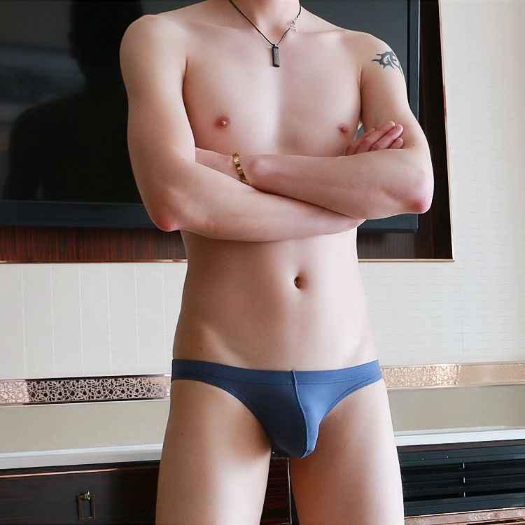 Nova marca Ultra-fina e Transparente Dos Homens de Seda Gelo Lingerie Sexy Cuecas Homens Calcinha Sem Costura Sexy Gay Bolsa Biquíni Erótico roupa interior