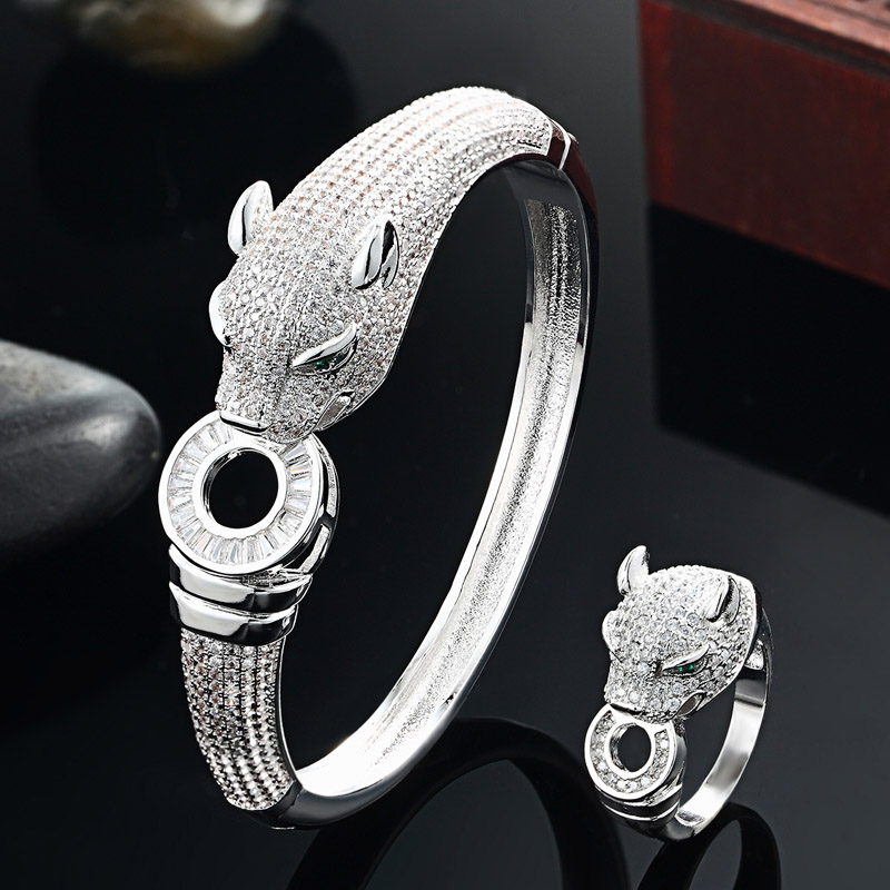 Blucome Luxury Brand leopard Animal Bangle for Men Accessories Perfect Cubic Zirconia Wedding Jewelry Women Bracelet