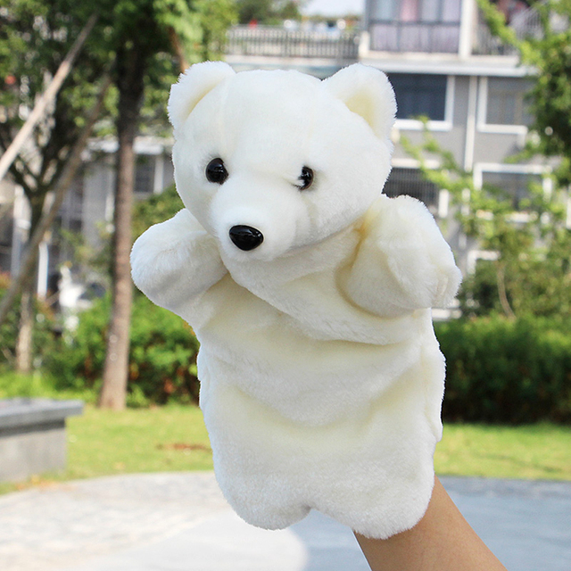 New Cute Polar Bear Animal Hand Puppets Baby Loves Doll Parent-child Games Toys Snake Mokey Family for Kids Xmas Birthday Gifts