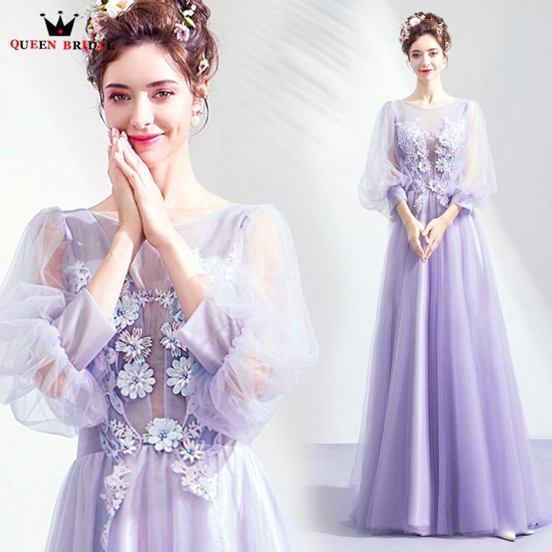 Light Purple A line Long Sleeve Tulle Flowers Elegant Formal Evening Dresses 2018 New Fashion Evening Gown Robe De Soiree JU94
