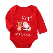 959966771ca442 Baby Baby Meisjes Jongens Lange Mouwen Brief Print Kerst Jumpsuit Romper  Outfit mijn eerste kerst meisje