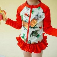 4Pieces Sets Kids Swimwear For Girls Cute Korean Polka Dots And Pineapple Print Junior Girls Swimsuit