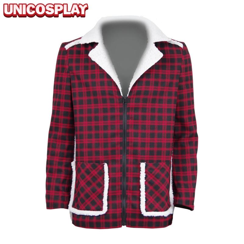 Deadpool Coat Cosplay kostiumai Raudona ir juoda tinklelio medvilnės apranga Helovino uniforma