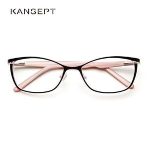Image 1 - 금속 안경 프레임 여성 브랜드 디자이너 여성 빈티지 고양이 눈 처방 안경 핑크 전체 근시 광학 프레임 눈