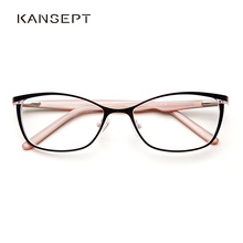 Gafas con montura metálica para mujer, anteojos con prescripción de ojo de gato Vintage para mujer, montura óptica completa rosa para Miopía