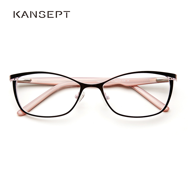 Metal Glasses Frame Women Brand Designer Female Vintage Cat Eye Prescription Eyeglasses Pink Full Myopia Optical Frames Eye
