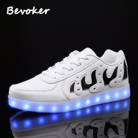 Bevoker Men Sneakers with Lights for Adults USB Rechargeable Flame 7 colors Led Shoes Casual Men Glowing Shoes White&Black