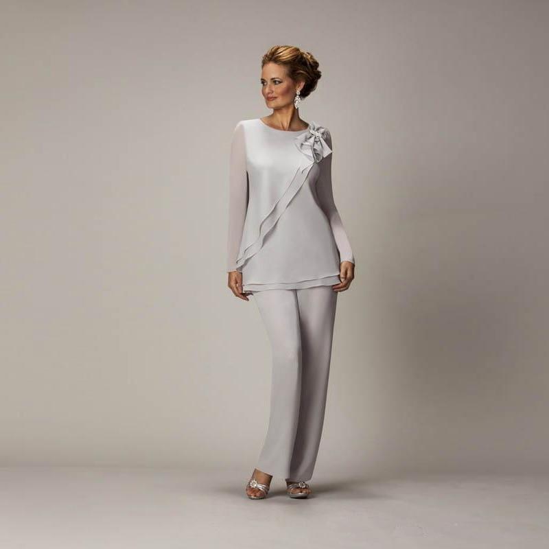Abiti Eleganti X La Mamma Dello Sposo.Madre Della Sposa Pant Abiti In Chiffon Vestito Di Pantaloni Per