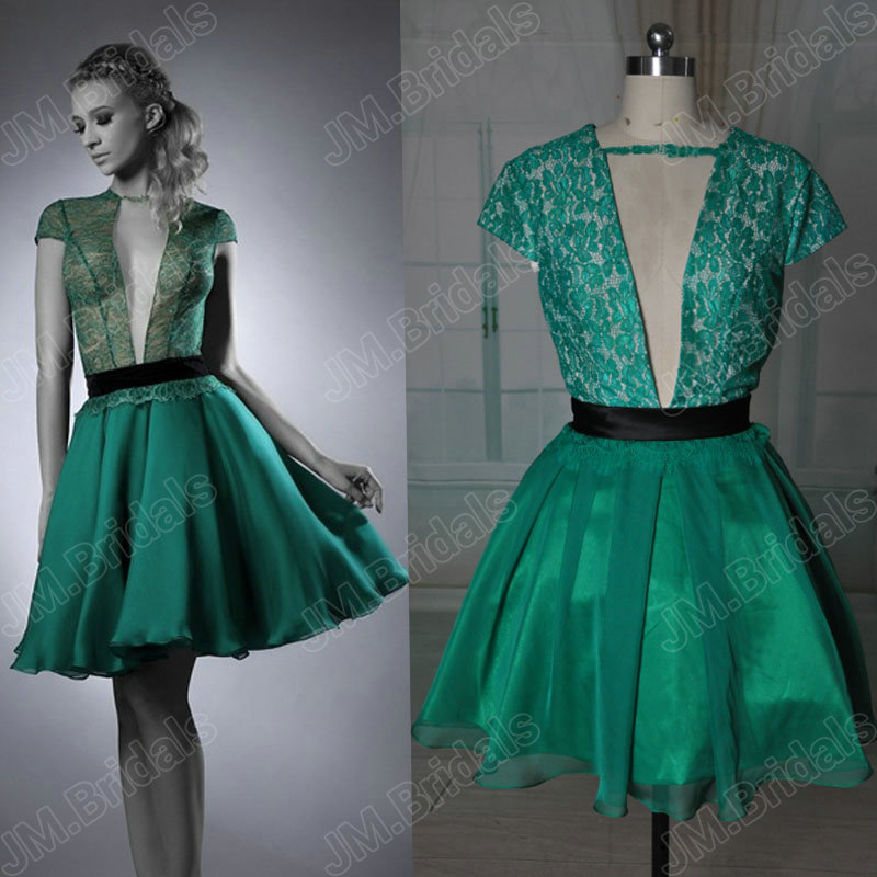 649f9cdaae4 Bridals CQ122 Real emerald green lace and chiffon sexy open low back see  through cocktail dress