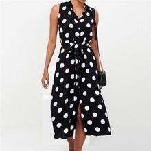 купить 2019 summer new fashion casual lapel polka dot print sleeveless high waist tie button chiffon women dress  calf-length dress по цене 1116.57 рублей